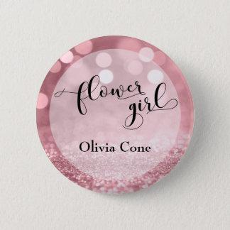 Rose Gold Glitter Bokeh Typography Flower Girl 6 Cm Round Badge