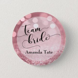 Rose Gold Glitter Bokeh Typography Team Bride 6 Cm Round Badge
