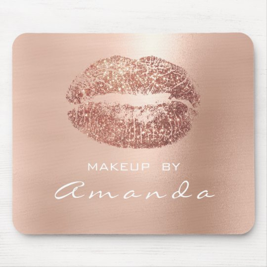 Rose Gold Glitter Branding Beauty Lips Kiss Pink Mouse Pad