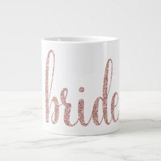 Rose gold glitter bride mug