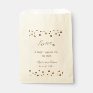 Rose Gold Glitter Champagne THANK YOU Wedding Favour Bag
