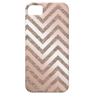 Rose gold glitter chevron case