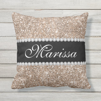 Rose Gold Glitter Cool Black Stylish Pillow