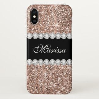 Rose Gold Glitter Ebony Zazzle iPhone X Case