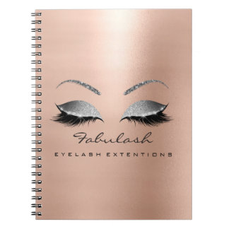 Rose Gold Glitter Eyes Makeup Beauty Pink Silver Notebook