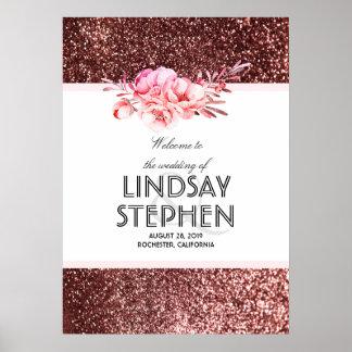 Rose Gold Glitter Floral Vintage Wedding Welcome Poster