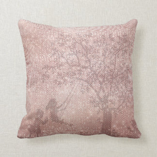 Rose Gold Glitter Glam Sparkle Children Tree Cushion