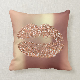Rose Gold Glitter Kiss Lips Glam Makeup Copper Cushion