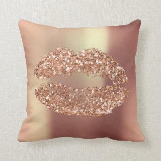 Rose Gold Glitter Kiss Lips Glam Makeup Copper Throw Pillow