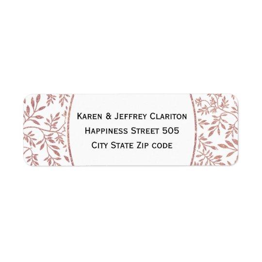Rose gold glitter leaves pattern, frame wedding return address label