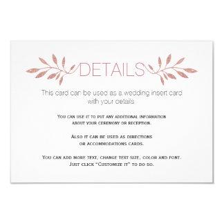 Rose gold  glitter leaves wedding insert card 9 cm x 13 cm invitation card