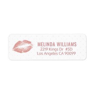 Rose-gold Glitter Lips & Dots pattern Return Address Label