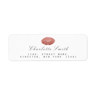 Rose Gold Glitter Lips Kiss Makeup White  RSVP Return Address Label
