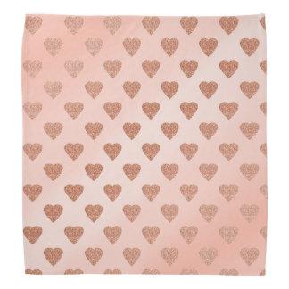 rose gold glitter love hearts polka dots pattern bandana