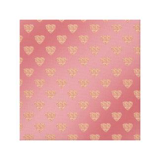 rose gold glitter love hearts polka dots pattern canvas print