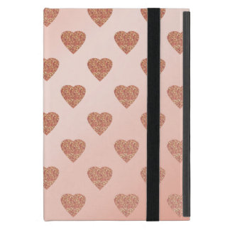 rose gold glitter love hearts polka dots pattern case for iPad mini
