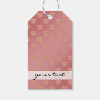 rose gold glitter love hearts polka dots pattern gift tags