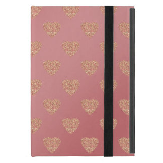rose gold glitter love hearts polka dots pattern iPad mini cover