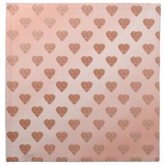 rose gold glitter love hearts polka dots pattern napkin