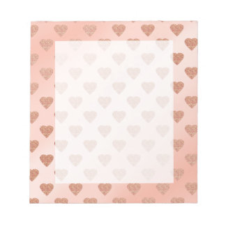rose gold glitter love hearts polka dots pattern notepad