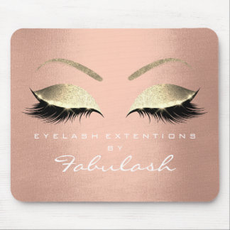 Rose Gold Glitter Makeup Beauty Lashes Pink Mouse Pad