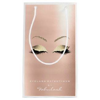 Rose Gold Glitter Makeup Lashes Beauty White Small Gift Bag