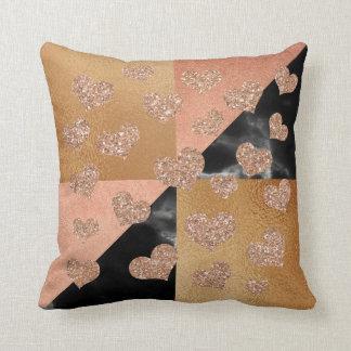 Rose Gold Glitter Marble Heart Copper Geometry Cushion