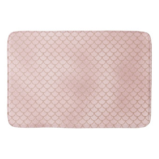 Rose Gold Glitter Mermaid Scales Bath Mat
