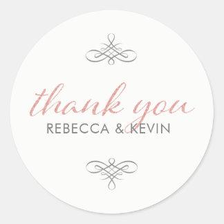 Rose Gold Glitter Modern TypographyThank You Round Sticker