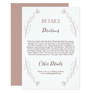Rose Gold Glitter Modern Wedding Details Card