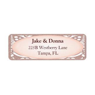 Rose Gold Glitter Modern Wedding Label
