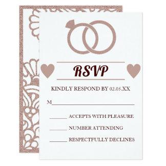 Rose Gold Glitter Modern Wedding RSVP Card