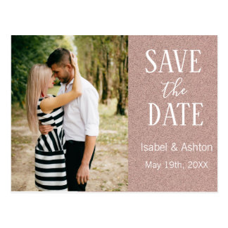 Rose Gold Glitter Modern Wedding Save the Date Postcard