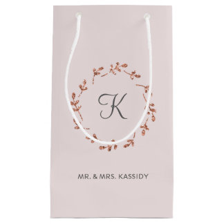 Rose Gold Glitter Monogram Bag