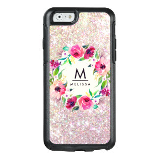 Rose Gold Glitter Monogram Floral Watercolor OtterBox iPhone 6/6s Case