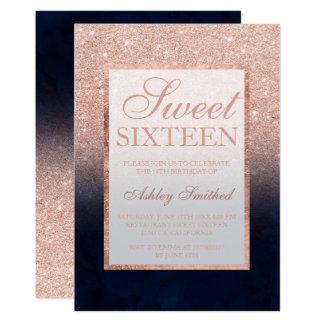Rose gold glitter navy blue watercolor Sweet 16 Card