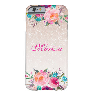 Rose Gold Glitter Ombre Floral Watercolor Barely There iPhone 6 Case
