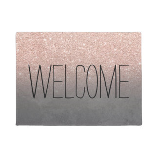 Rose gold glitter ombre grey cement concrete doormat