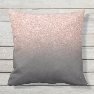 Rose gold glitter ombre grey cement concrete outdoor cushion