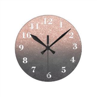 Rose gold glitter ombre grey cement concrete round clock
