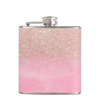 Rose gold glitter ombre pink pastel watercolor hip flask