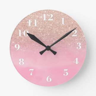 Rose gold glitter ombre pink pastel watercolor round clock