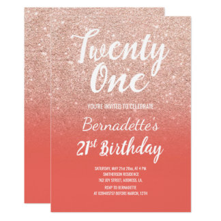 Rose gold glitter ombre salmon 21st Birthday Card