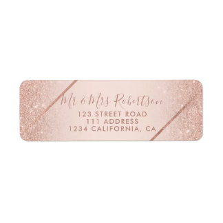 Rose gold glitter ombre script blush pink wedding return address label