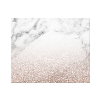 Rose gold glitter on marble canvas
