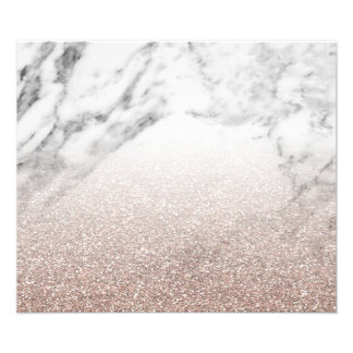 Rose gold glitter on marble photo print