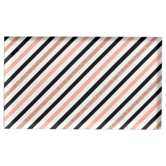 rose gold glitter past pink stripes pattern table card holders