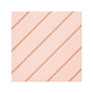 rose gold glitter pastel peach stripes pattern canvas print