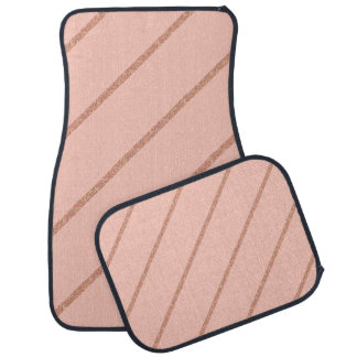 rose gold glitter pastel peach stripes pattern car mat