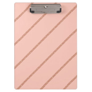 rose gold glitter pastel peach stripes pattern clipboard